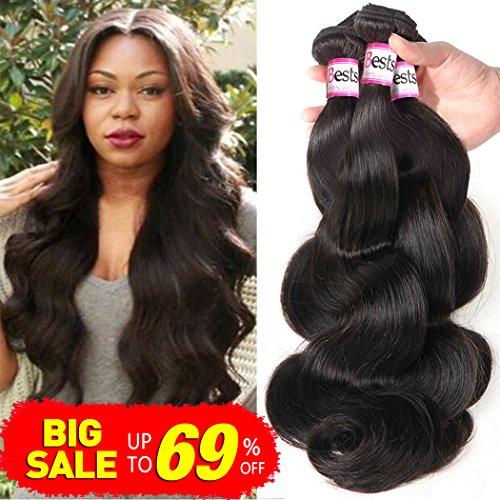 Bestsojoy Brazilian Virgin Hair Body Wave 4 Bundles 10A Unprocessed Remy Human Hair Weave Natural Color (20 22 24 26)