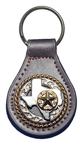 - Texas Rope and Star leather key fob or keychain Brown