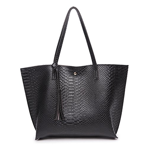 Minimalist Clean Cut Pebbled Crocodile Pattern Tote Womens Shoulder Handbag ()