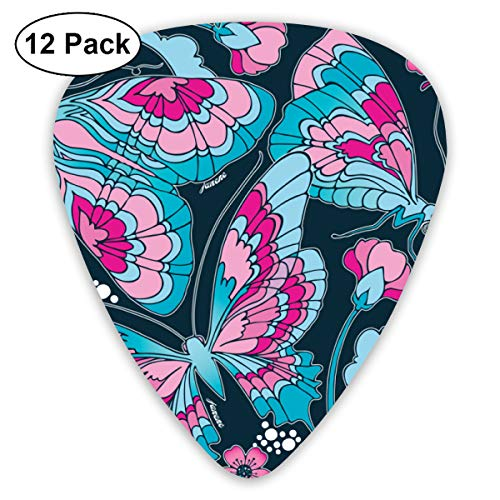- Art Nouveau Butterfly Navy Bendy Ultra Thin 0.46 Med 0.73 Thick 0.96mm 4 Pieces Each Base Prime Plastic Jazz Mandolin Bass Ukelele Guitar Pick Plectrum Display