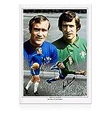 Signed Ron (Soccer) Harris Photograph - & Peter Bonetti - Autographed Soccer Photos