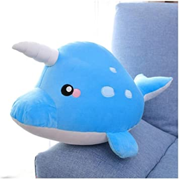 Whale Doll Pillow Plush Stuffed Soft Pillow Doll Cartoon Blue Whale Toy For Kids