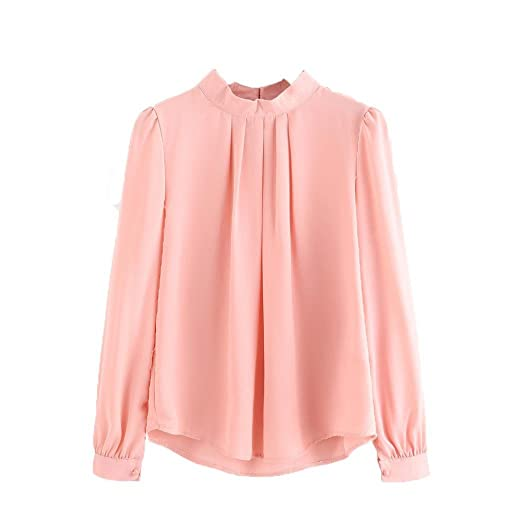 23736872747a Kangma Women Summer Solid Fold Loose Casual Chiffon Long Sleeve Shirt Tops  Blouse Pink at Amazon Women s Clothing store