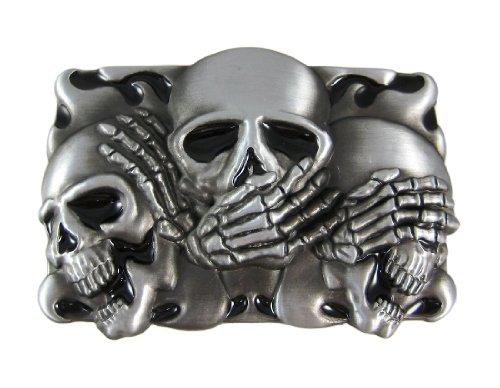 NO EVIL Skulls Pewter Finish Belt Buckle - Evil Buckle