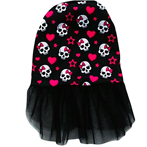 Ollypet Halloween Dog Costume Dress Skull Print Skeleton Outfit for Small Dogs Cat Apparel Black