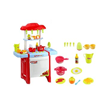 HAIZHEN Intellectual Toy Red Pretend To Play With Childrenu0027s Toy Kitchen  With Role Playing Accessories