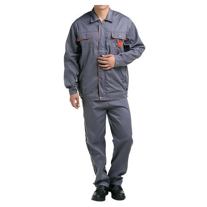 Gris con anaranjado traje chaqueta de trabajo protección uniforme chaqueta soldador soldadura soldador ropa 190: Amazon.es: Ropa y accesorios
