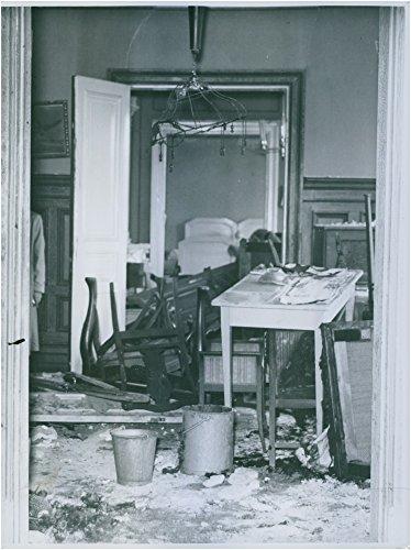 Vintage photo of Shattered furniture after explosion - 14 July 1938