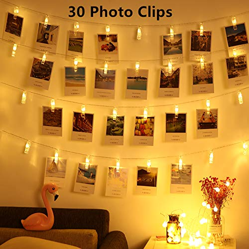 LED Photo Clips String Lights - Magnoloran 30 Photo Clips Battery Powered Fairy Twinkle Lights, Wedding Party Home Decor Lights for Hanging Photos, Cards and Artwork, 10 Feet, Warm White by Magnolora