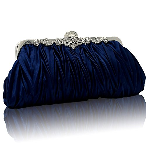 Kingluck Silk Cocktail Evening Handbags/ Clutches in Gorgeous Silk More Colors Availabl (dark blue) Evening Clutch