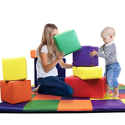 Dream Tree Building Blocks [Set of 8] Washable, Non-Toxic CPSIA Compliant Learning Toys Soft Foam Blocks for Toddler, Baby, Kids, and Preschool (Block Foam Preschool)