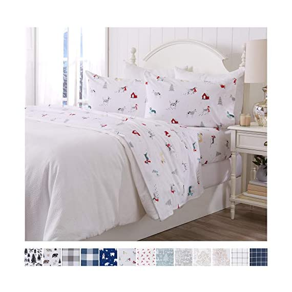 Great Bay Home Extra Soft Printed 100% Turkish Cotton Flannel Sheet Set. Warm, Cozy, Luxury Winter Bed Sheets. Belle Collection (Twin, Pups in The Snow) - TOP QUALITY, AFFORDABLE PRICE: Our premium flannel bed sheets enhance the comfort level of any bed! Mutli-purpose, versatile and extremely high-quality at an unbeatable value. Each set includes 1 fitted sheet, 1 flat sheet and 2 pillowcases (1 pillowcase for Twin size). SUPER SOFT WARMTH: Feel the difference in our 170 GSM 100% Turkish Cotton FLANNEL. These are the BEST WINTER SHEETS you'll ever own! They're SOFT, COZY, WARM, GENTLE and BREATHABLE. Stay warm and toasty on the coldest nights and sleep better than ever. Available in a variety of PRINTED PATTERNS for you to choose from. PERFECT FIT EVERY TIME: These DEEP POCKET sheets come with fully elasticized fitted sheets that fit mattresses up to 17 inches deep. See below for exact measurements. EASY CARE AND EASY WASH: Machine washable, wrinkle resistant, fade resistant, shrink resistant & pill resistant. Extremely DURABLE and LONG LASTING. - sheet-sets, bedroom-sheets-comforters, bedroom - 51PPCY3ojBL. SS570  -