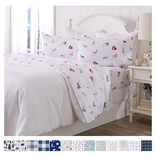 Great Bay Home Extra Soft Printed 100% Turkish Cotton Flannel Sheet Set. Warm, Cozy, Lightweight, Luxury Winter Bed Sheets. Belle Collection (Full, Pups in The Snow)