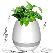 Smart Music Flower Pot,Sunroyal Creative Gift Touch Plant Piano Music Playing Flowerpot Multi-Color LED Night Light Round Plant Pots Wireless Speaker with Bluetooth for Home Bedroom