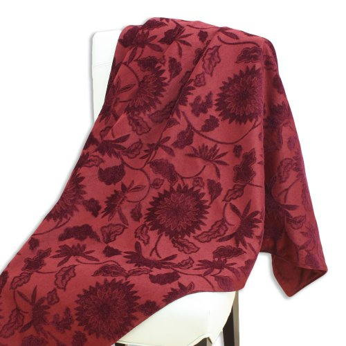 - Brite Ideas Living Edwyna Port/Passion Suede Hershey Topstitched 50 by 60-Inch Throw, Red