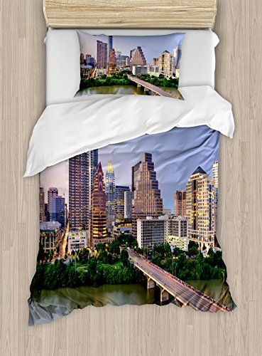 Ambesonne Modern Duvet Cover Set Twin Size, Austin Texas American City Bridge over the Lake Skyscrapers USA Downtown Picture, Decorative 2 Piece Bedding Set with 1 Pillow Sham, Multicolor