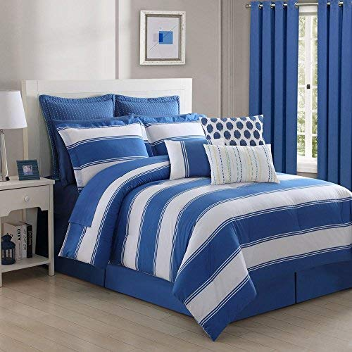 Fiesta 4 Piece Cabana Stripe Bed Skirt and & 2 Pillow Shams, Full, Lapis Blue Comforter Set,