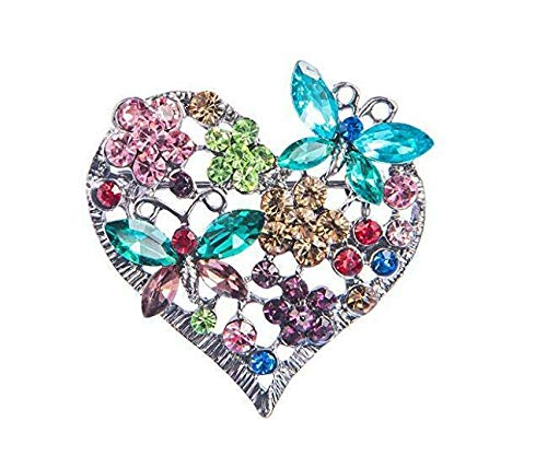 (Elements Gunmetal Lavender Love Heart Butterfly Duo Pin Brooch Wedding Gift (Color - Multicoloured))