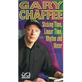"""Picture of the cover of the Sticking Time VHS, the video """"Sticking Time, Linear Time, Rhythm and Meter"""" by master drum teacher Gary Chaffee as a VHS"""