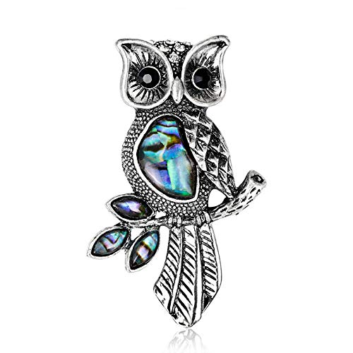 (Vintage Owl Shell Enamel Pin Brooch Wedding Bouquets Animal Shirt Collar Brooch)