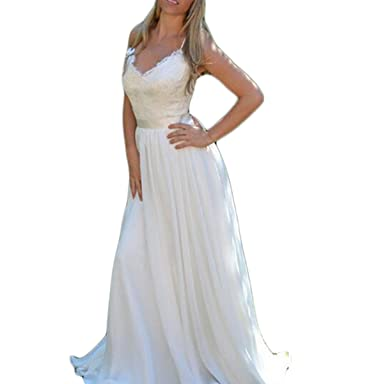 Fishlove Long Sexy vestidos de novia Backless Chiffon Lace Bridal Wedding Dresses For Women W16 at Amazon Womens Clothing store: