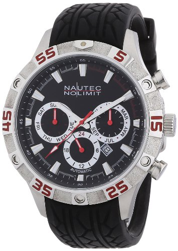 Nautec No Limit Men's Automatic Watch Dragster DG AT/RBSTBKBK-RD with Rubber Strap