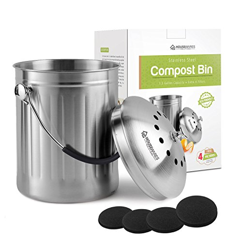 Odor Free Compost Bucket - Housewares Solutions Leak Proof Stainless Steel Compost Bin 1.3 Gallon - Includes 4 Extra Free Filters