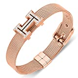 Yeemer Gold Rose Gold Silver Mesh Chain Belt Shape Swarovski Crystal Buckle Bangle Bracelet (Rose gold)