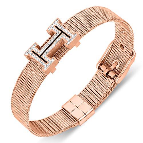 Buckle Mesh Gold (Yeemer Gold Rose Gold Silver Mesh Chain Belt Shape Swarovski Crystal Buckle Bangle Bracelet (Rose gold))