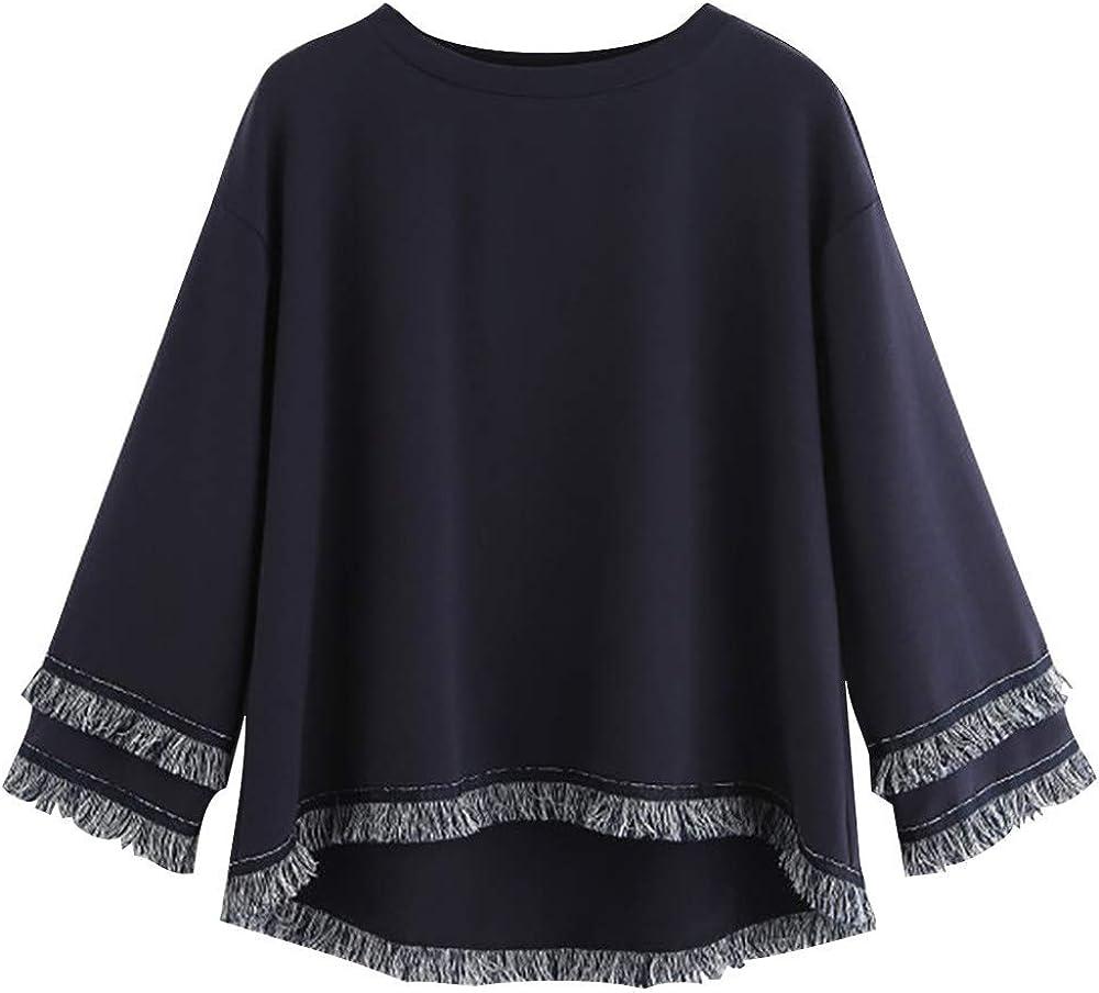 Long Sleeve Hoodies for Women Libermall Women/'s Tiered Fringe Tassel Pullover Jumper Sweatshirts Hooded Tops Outwear
