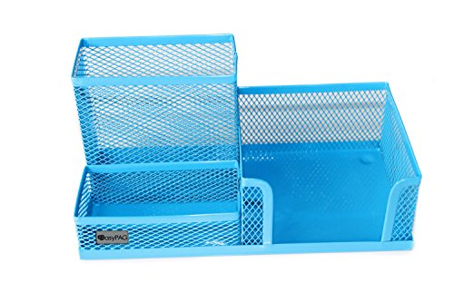 EasyPAG Mesh Desk Accessories Organizer Office Supply Caddy with Pen Holder,Blue