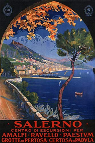 Salerno Italy Amalfi Coast Ocean Resort Vintage Travel Poster 24x36 inch ()