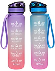 GEMFUL 32oz Motivational BPA-free Water Bottle with Time Marking and Filter and Straw
