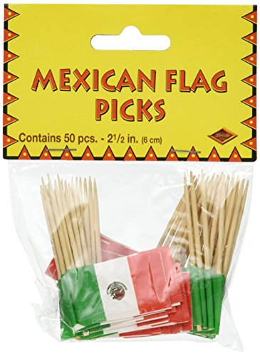 Beistle Mexican Flag Picks 2.5-Inch (50-Count), Green/Red/White, Pkg of -