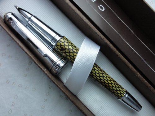 Cross Executive Style Genuine Textures and Supple Italian Desert Diamond Leather Selectip Rollerball Pen. Imagine a Leather Rollerball Pen from Cross (Cross Townsend Selectip Rolling Ball)
