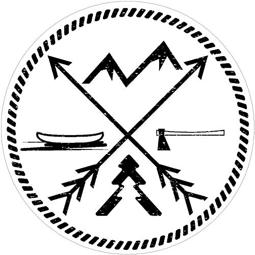 (Funny for Men Oval Adventure Arrows MTN Canoe Wht Lake Outdoor Nature Wanderlust for Keypad Pad Windows Car Trucks Laptop Wall Decals Decor Vinyl Sticker Q5916)