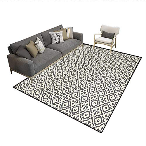 Carpet,Edwardian Style Vintage Tessellation Pattern in Plain Colors Rich Floral Motifs,Customize Rug Pad,Taupe -