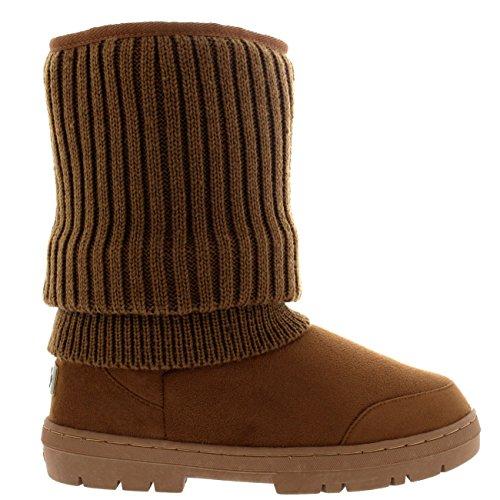 Mujer Cardy De Punto Corta Invierno Lluvia Al Aire Libre Zapato Botas Tan De Punto