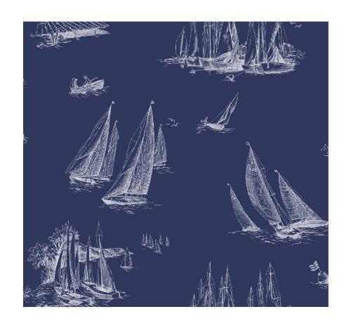 York Wallcoverings AC6136 Nautical Living Sailboat Wallpaper, Blueprint Blue/White