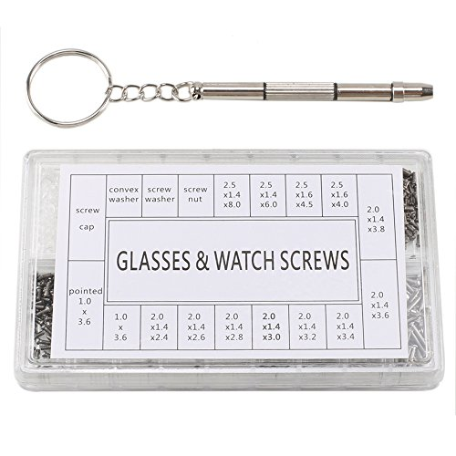 Eyeglass Repair Kit,1000PCS Micro Spectacles Watch Sun Glasses Optical Repair Tools Tiny Screws Nut Stainless Steel Screws w/ Keychain - Rimless Eyeglass Repair Parts