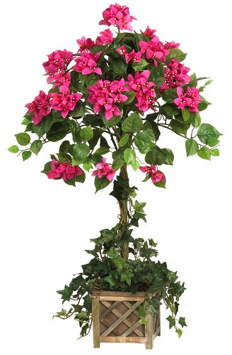 (Nearly Natural 5227 Bougainvillea Topiary with Wood Box Beauty)