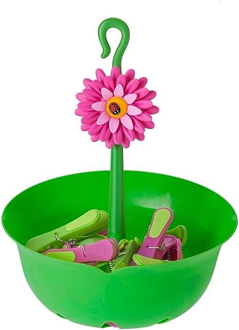 VIGAR Flower Power Cesta y 12 Pinzas para Ropa, Material: Polipropileno, Goma y ABS, Verde, 22 X 21.5 X 28 Cm: Amazon.es: Hogar