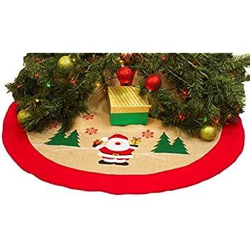 36 burlap christmas tree skirt xmas tree skirt red border burlap tree skirt santa claus