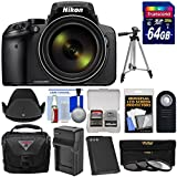 Nikon Coolpix P900 Wi-Fi 83x Zoom Digital Camera 64GB Card + Battery & Charger + Case + Tripod + 3 Filters + Hood + Kit