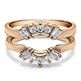 TwoBirch Sunburst Style Ring Guard with Round and Baguette Cut Stones with 0.73 carats of Cubic Zirconia in Rose Gold Plated Sterling Silver