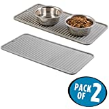 mDesign Premium Quality Pet Food and Water Bowl Feeding Mat for Cats and Kittens - Waterproof Non-Slip Durable Silicone Placemat - Food Safe, Non-Toxic - Pack of 2, Gray