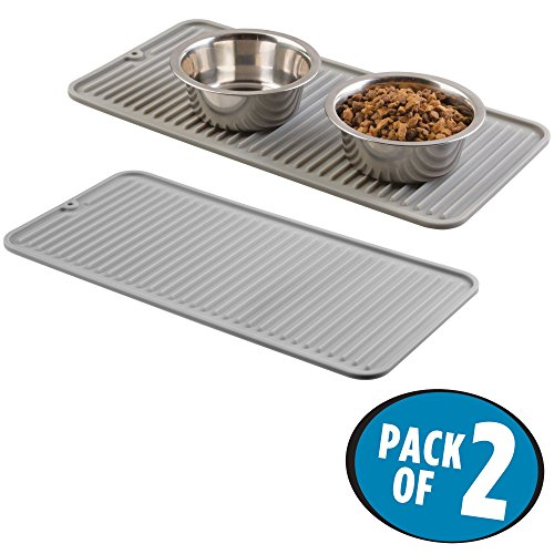 mDesign Premium Quality Pet Food and Water Bowl Feeding Mat for Cats and Kittens - Waterproof Non-Slip Durable Silicone Placemat - Food Safe, Non-Toxic - Pack of 2, Gray by mDesign (Image #7)