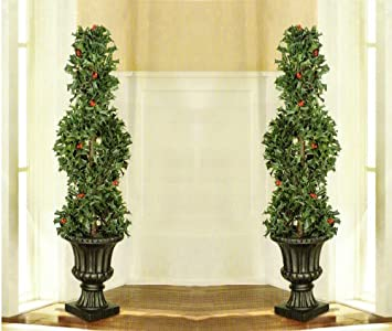 Christmas Topiary For Front Porch.Amazon Com Rockwell 39 Holly Artificial Topiary Set Of 2
