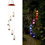 Color Changing LED Solar Mobile Wind Chime, Fengus Creative Solar-powered LED Wind Chime Bell Outdoor Hanging lamp For Home/ Party/ Garden Decoration Lucky Gift - Lucky Star Bottle