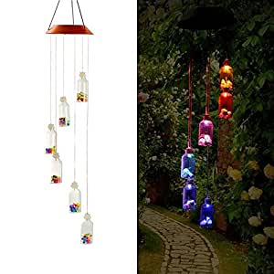 LED Solar campanas tubulares Color-changing, efanty Solar Impermeable cambia color Wind Chimes para la casa, Party, Decoración de Jardín, Lucky Stelle